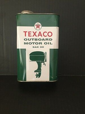 Texaco Outboard Motor Oil Can SAE 30 - Full One Quart Can