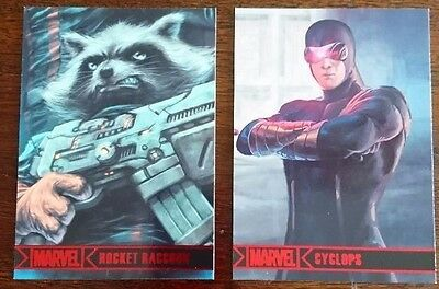 Marvel comics - carte de collection - trading card - Cyclope et Rocket racoon