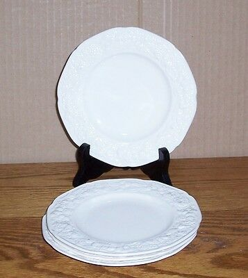 """Lot Of 4 Crown Ducal Florentine Bread & Butter  6"""" Off White Embossed Floral"""