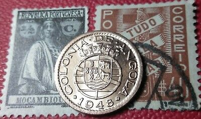 ((ERROR/PROOF like BU UNC)) 1948 Portuguese Angola 20 centavos coin & stamp lot