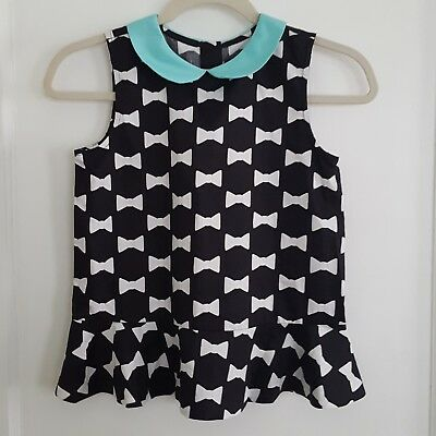 Janie & Jack Sleeveless Girls Blouse With Peter Pan Collar Bow Tie Pattern Sz 12