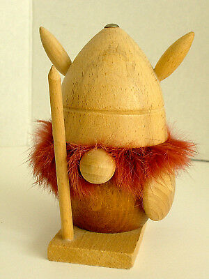 Vintage Danish Mid Century Modern Viking Troll Teak Birch ? Wood Red Fur Figure
