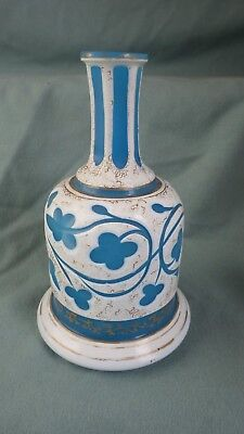 Opaline ANTIQUE BOHEMIAN PERSIAN TURKISH HARRACH PAINTED GLASS VASE DECANTER