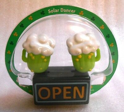 New Sealed Solar Powered St Patrick's Day Dancing Beer Mugs Decoration/Toy