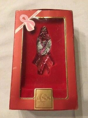 Lenox Gift Of Knowledge Pink Ribbon Breast Cancer Ornament Brand New (B26)