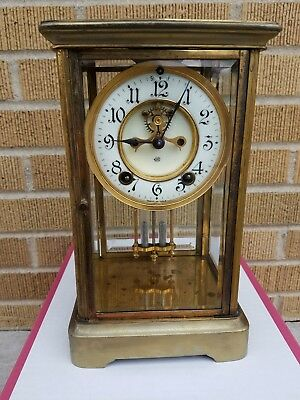 Jennings Brothers Crystal Regulator Clock, Running and Striking
