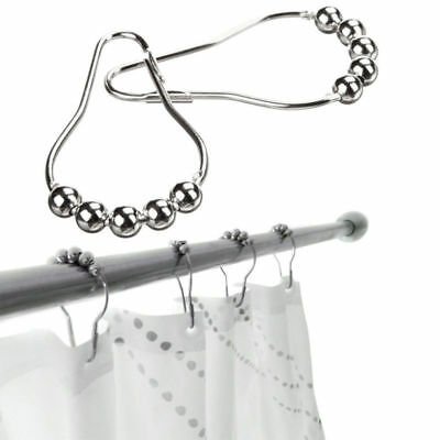 10Pcs Stainless Steel Polished Chrome Rolling Shower Curtain Rings Duty Hooks