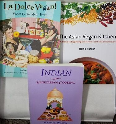 Lot of 3 Vegetarian /Vegan Cook Books Indian Asian & Vegan Living Made Easy