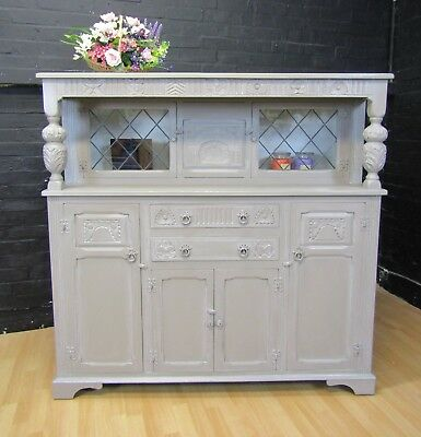Shabby Chic Oak Court cabinet- sideboard- dresser Old Charm A.Sloan French Linen
