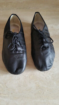 block jazz shoes black leather girls size 7.5
