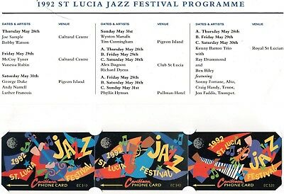 1992 St Lucia Jazz Festival   Set of 3 Cable & Wireless Phonecards & Folder