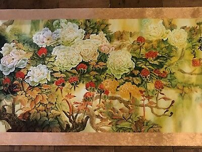 Chinese Flower Watercolor Painting Scroll