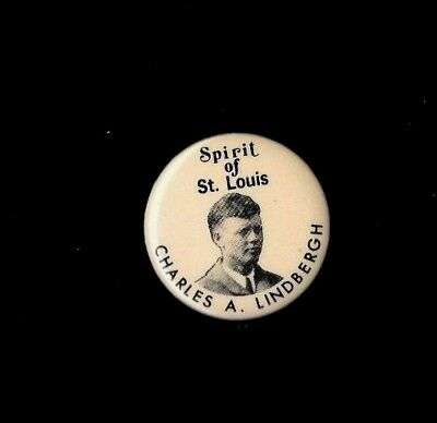 Spirit Of St. Louis, Charles A. Lindbergh, Pinback Button 1 3/4 Inches