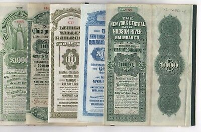 Lot of 5 different Railroad Bonds with bond coupons