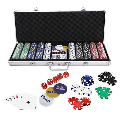 Professional 500 11.5 gram Clay Hold'em w/Texas Casino Poker Chip Cards Set Case