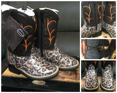 New Old west gorgeous glitter leopard toddlers boots - sz 7