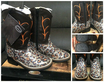New Old west gorgeous glitter leopard toddlers boots - sz 8