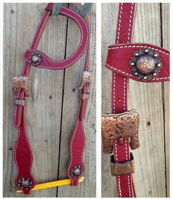 New one ear western bridle antique look conchos and buckles. full sz maroon red