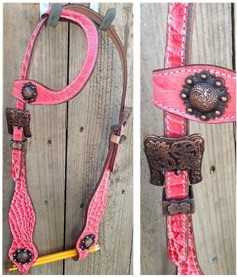 New one ear western bridle antique look conchos and buckles. cob sz pink