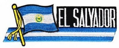 """EL SALVADOR FLAG EMBROIDERED CUTOUT PATCH 1.5 x 4.5""""  - NEW - FREE SHIPPING"""