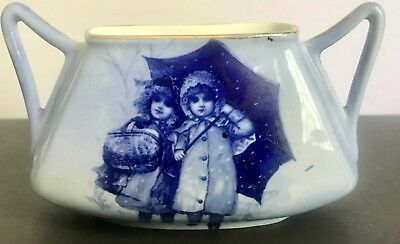 Royal Doulton Blue Children Unusual Shaped Vase: Two young girls in the rain