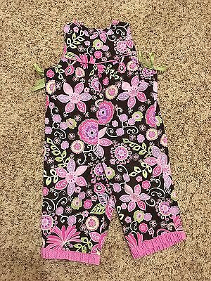 Just Ducky Size 2/3 VGUC Floral Romper, Pink & Lime Green Longall