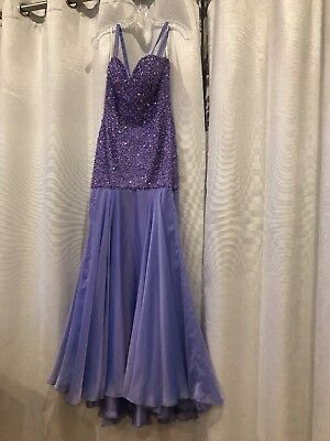 long formal evening dress party prom dresses Purple Beaded Size 4 By Sherri Hill