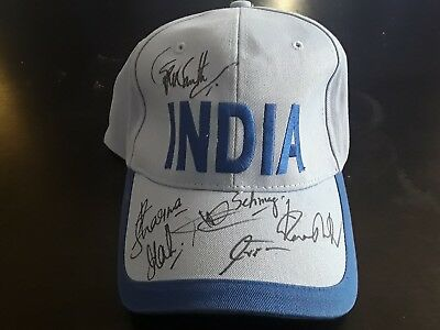 Signed India Cricket Cap Dhoni Sehwag Sharma plus others! 7 signatures Excellent