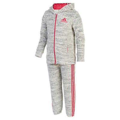 2792f29cc4b4 New Girls 6 Grey Pink Adidas 2 Piece Velour Jacket Pants Tracksuit  Sweatsuit Set