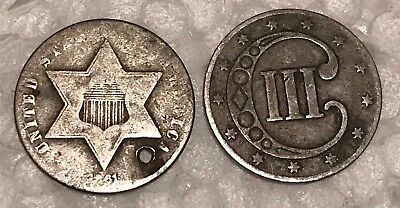 Lot of 2~Three-Cent Silver Pieces Trimes~1 Coin 1861 w/Hole~ 1 w/Year Worn Off