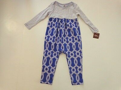 NWT $42.50 Tea Collection girl's size 12-18 months Macha Two-Tone Romper purple
