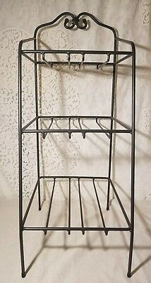 "Longaberger Wrought Iron ""Bin Basket"" Organizer Rack Stand 3 Tier"