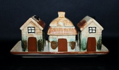 Vintage English Cottage Cruet Set Salt & Pepper Shakers & Mustard Pot
