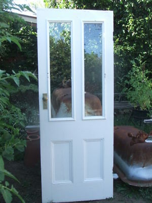 ORIGINAL 4 PANEL TIMBER DOOR with CLEAR GLASS TOP PANELS recycled house old