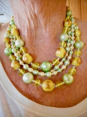 Authentic Vintage 1950's FOUR Strand Japan Green & Gold Necklace Adjustable