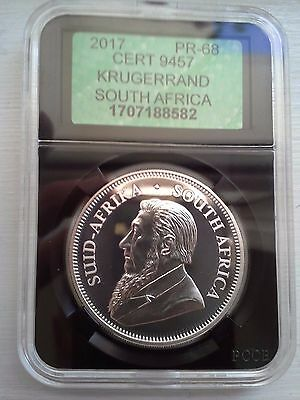 2017 South Africa Krugerrand 50th Anniversary 1oz Silver Proof APCGS GRADED PR68
