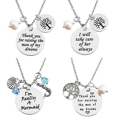 Stainless Steel Pearl Necklace Mother of the Bride Groom Message Tree of  Life