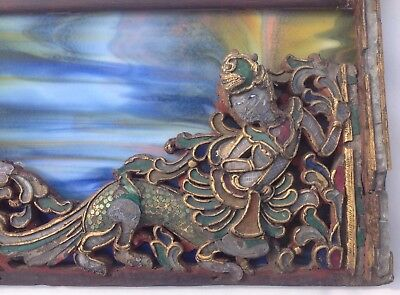 Rare antique Mica(?)/Glass/Painted/Wood, framed panel from Myanmar