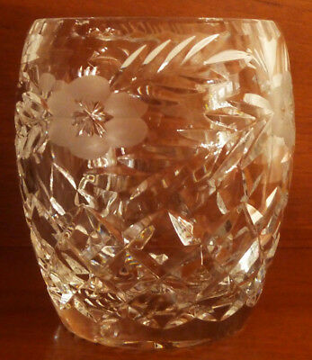 TUTBURY Lead Crystal Cut / Etched 11.5 cm Glass Vase