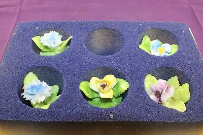 Vintage Royal Adderley Bone China Floral Place Card Holders Marked Set of 5 Pce