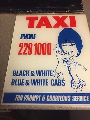Vintage Taxi Advertising Black And White Cabs Perspex