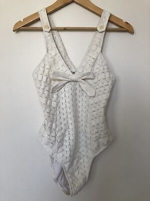 LOVER The Label Ivory Ladder Knit Bow Bodysuit One Piece Swimsuit S 10