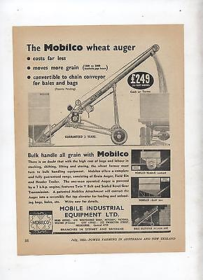Mobilco Wheat Auger Advertisement removed from 1952 Farming Magazine