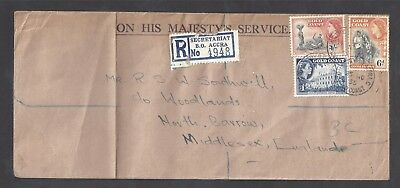 1955 Gold Coast cover OHMS registered Accra to GB ministry BO Cds