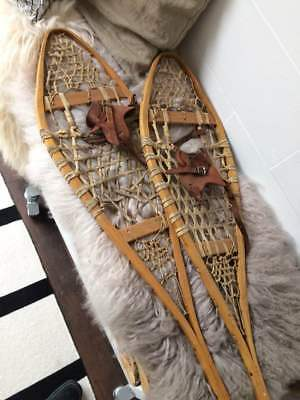 Vintage Wood/Rawhide Snowshoes 11 inches x 37 inches