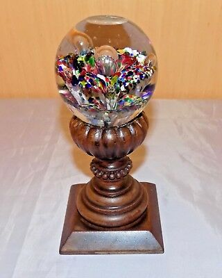 Antique Facet Polished Glass Paperweight Mount Stair Banister Rail Post  Finial