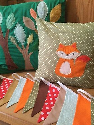 2 NURSERY WOODLAND HANDMADE CUSHION COVERS & BUNTING baby fox toadstool brown