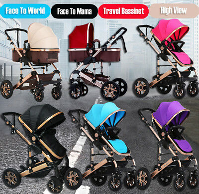 Foldable Baby Stroller 8 in 1 Travel System High View Pram Newborn Baby Carriage