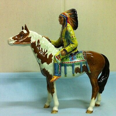Vintage BESWICK pottery horse & rider Mounted Indian Chief on Skewbald Pony 1391