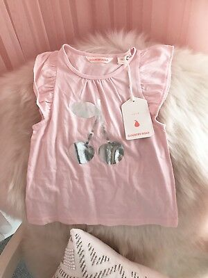 BNWT Country Road Baby Girls Top With Silver Foil Cherry